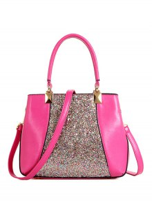 Sequins Splicing PU Leather Tote Bag