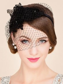 Black Lace Veil Cocktails Hat