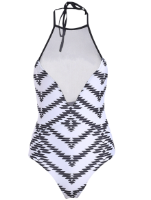 Printed One-Piece See Through Bathing Suit
