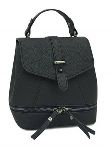 Buy Zips Solid Color PU Leather Satchel - BLACK