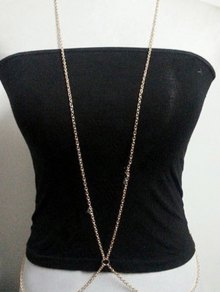 Simple Style X Shape Body Chain - Golden