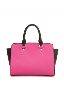 Color Block Letter Print Tote Bag