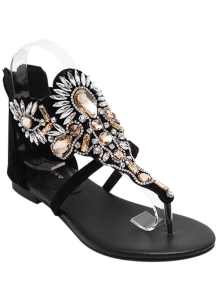 Artificial Jewel Black Flat Heel Sandals - Black