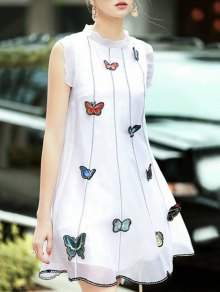 Butterfly Embroidery Stand Neck Sleeveless Dress - White L