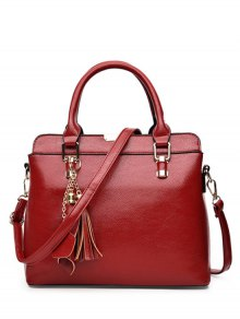 Pendant Solid Color PU Leather Tote Bag
