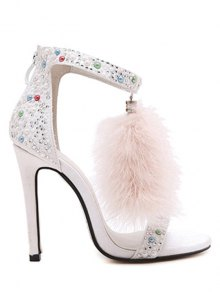 Faux Fur Colorful Beads Stiletto Heel Sandals