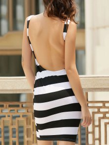 Backless Striped Sheath Dress - White And Black