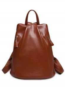 Solid Color PU Leather Zips Satchel