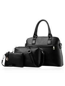 Solid Color Zip PU Leather Tote Bag - Black