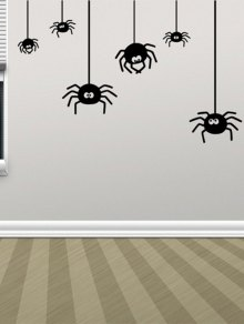 Home Decor Irregular Spider Design Halloween Wall Sticker - Black