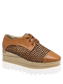 Hollow Out Lace-Up  Platform Shoes - Light Brown 38