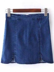 Solid Color Denim High Waist Mini Skirt - Deep Blue L
