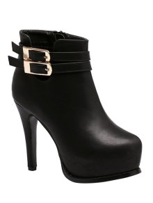 Double Buckle Stiletto Heel Ankle Boots - Black 38