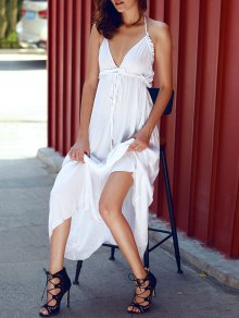 Blackless Halter Long Flowing Dress - White L