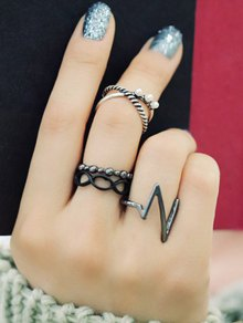 A Suit Of Lighting Alloy Rings - Silver