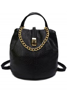 Solid Color Chains PU Leather Satchel