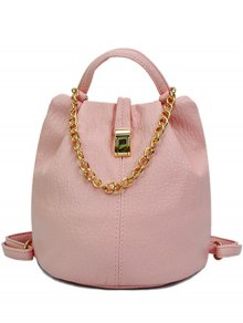 Solid Color Chains PU Leather Satchel - Pink