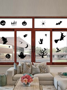 Halloween Series Removable Waterproof Room Wall Sticker - Black