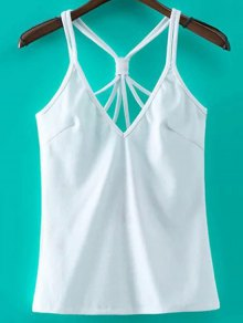 Solid Color Cut Out Spaghetti Straps Tank Top