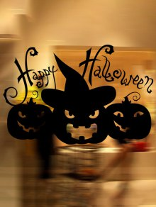 Happy Halloween Pumpkin Witch Removable Waterproof Room Wall Sticker - Black