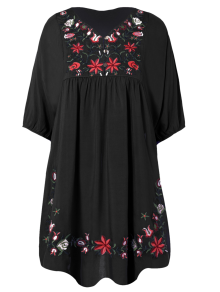 Floral Embroidered Bib Tunic Dress - Black