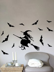 Waterproof Happy Halloween Witch Bats Room Wall Sticker - Black