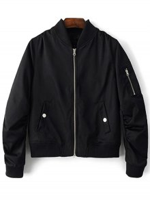 Zippered Sleeve Bomber Jacket