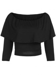 Flouncing Off The Shoulder Cropped T-Shirt - Black 2xl