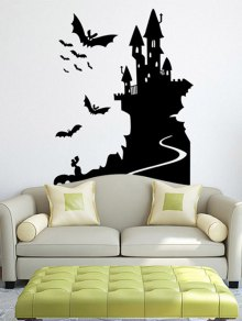 Bats Castle Happy Halloween Waterproof Room Wall Sticker - Black