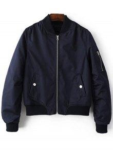Zippered Sleeve Bomber Jacket - BLUE L