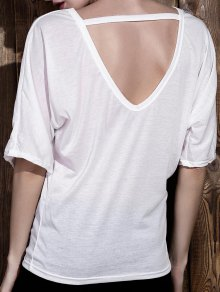 White Round Neck Half Sleeve Backless T-Shirt