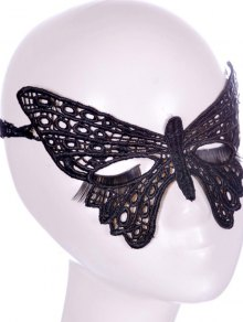 Faux Lace Butterfly Headband Party Mask - Black