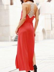 Recortable Empalmado Con Cuello Redondo Vestido Largo De Encaje - Rojo
