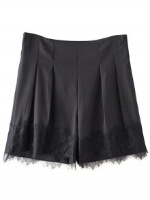 Black Lace Splice High Waist Shorts