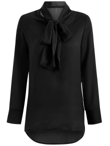 Long Sleeve Pussy Bow Blouse - Black Xl