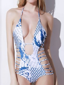 Snakeskin Print High Cut One-Piece Swimwear - White L
