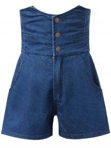 Solid Color High Waist Denim Shorts - Deep Blue