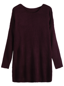 Dropped Shoulder Oversized Sweater - Wine Red M
