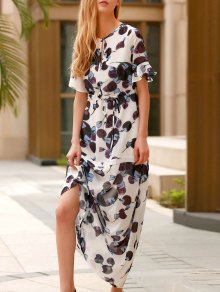 Flounce Ruffles Round Neck Half Sleeve Dress
