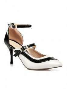 Buy Color Block Buckle Pointed Toe Pumps - WHITE 34
