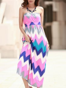 Zig Zag Strapless Print Maxi Dress - Pink Xl