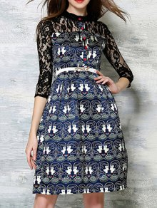 Lace Spliced Printed Round Neck 3/4 Sleeve Dress - Black Xl