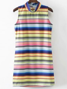 Colored Stripe Stand Neck Sleeveless Dress