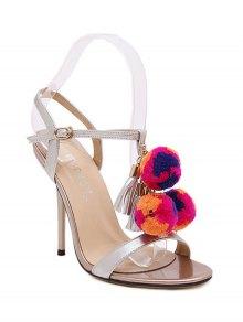 Tassel Pompon T-Strap Sandals - Silver 40