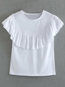 Solid Color Flounce Ruffles Round Neck Short Sleeve T-Shirt