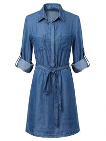 Pockets Shirt Collar Long Sleeve Chambray Dress - Blue