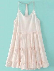 Spaghetti Strap Tiered Dress - Pink