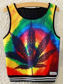 Maple Leaf Print Crop Tank Top