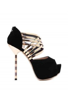 Platform Flock Stiletto Heel Peep Toe Shoes