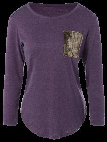 Sequined Pocket Slit T-Shirt